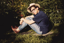 Pascal Grob - Father's Old One Panama Hat, Moscot Glasses, Acne Studios T Shirt, American Apparel Welt Pocket Pant, Rachel Comey Shoes - 5782139524
