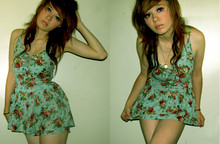 Alissa L - Vintage Floral Romper Dress, Urban Outfitters Locket - Take your bank before i pay you out