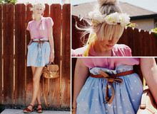 "Coury Combs - Vintage Blouse, Vintage Chambray Skirt, Zara ""Bow"" Belt, Mia Braided Clog Sandals - I found all kinds of historical documents."