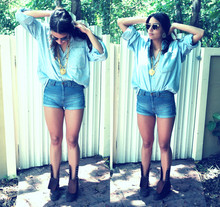 Steph Zakka - Daddy's Shirt, Mommy's Vintage Jewelry, Gap Boots - Denim overload & a hint of 80s