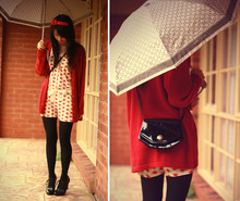 Connie Cao - Oroton Umbrella, Handmade Headband, Vintage Cardigan, Peter Alexander Playsuit, China Shoes, Vintage + Edited Bag - Red and Black in Sunshine & Rain