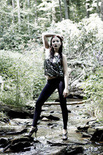 Marina Baranova - Forever 21 Sequins Top, Khols Leggings, Heels - Black lips I <3