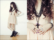 Tricia Gosingtian - Topshop Peach Dress, Dr. Martens Boots, Chunky Cross Necklace, Cross Connector Ring, Rolleiflex Ring - 071010
