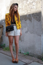 Iris . - H&M Blazer, H&M Shorts, Moschino Belt, Jessica Simpson Platforms - Purses and Poodles