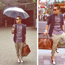 Dennis Robles - Sebago Tri Colored Boat Shoes, Hermës Havanne 40cm Birkin, H&M Navy Cardigan, H&M Beige Pants, Retrosuperfuture Edgy Sunnies, Local Transparent Umbrella - Tokyo look # 265