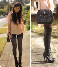 "Jessica Tran - Cut Out Mesh Leggings, Gifted Boots, Thrifted Bag, Tattoo Floaty ""Curtain"" Top - I need to study."