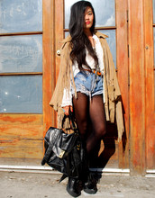 Olivia Lopez - Super Thrift In La Habra Fringe Jacket, Levi's® Denim Shorts, Burb's, Falling Whistles Necklace - Gold Dust Woman