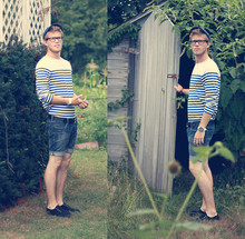 Dorian Sanders - H&M Striped Shirt, Urban Outfitters Black Plimsolls - Finding Neverland