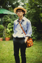Pascal Grob - From My Father Panama Hat, Moscot Glasses, Lanvin Oversized Shirt, From My Father Vintage Bag, Topman Chino Trousers - 4819450228