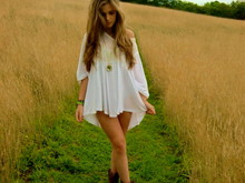 Elle Cohen - Bank White Dress, Garage Shoes Military Boots, Topshop Gold, Mirror Necklace - Fields of gold