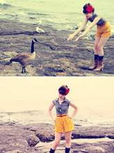 Jane G - H&M Blouse, Urban Outfitters Shorts - Befriending the goose
