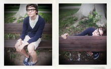 Samuel S. - Superga 2750 Cotu Navy, Vintage Glasses Frame (Wayfarer Looking), Zara Striped Shorts (White+Beige), ? Navy Cardigan - ParkLife