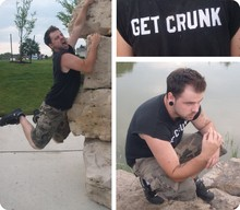 Christian LaDouceur - Diy Get Crunk Shirt, Old Navy Camo Shorts, Adidas Shoes - Pond Scum