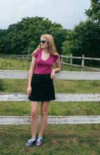 Beth Manet - Vintage Shades, Wet Seal V Neck Tee, H&M Button Skirt, Diy Space Shoes - The fonz of the farm
