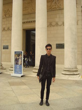 Chi Kotur - The Ramp Clutch, Urban Outfitters Vintage Round Specs, Balenciaga Black Button Down Long Sleeves, Forever 21 Studded Belt, Forever 21 Skinny Pants, Zara Structured Suit, Zara Patent Shoes - Legion of honor