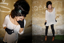 Milica Stojsic - H&M Beige Tunic, H&M Lace Leggings, H&M Fether Headband, Vintage Lace Gloves, Vintage Necklace Watch, Zara Ankle Boots - Time traveller, you're being late!