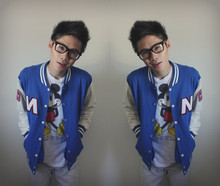 Andrew Dang - Korean Letterman Jacket, Disney Shirt, Ray Ban Glasses, Jeans - _________