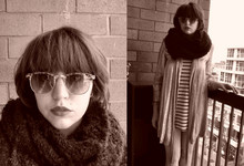 Kali Hunter - Sunnies, Black Circle Scarf, Gold 1920's Cardigan, Striped Tank - They say a watched pot, it never boils.
