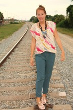 Katie M - Urban Outfitters Trousers, Urban Outfitters Shoes, Lauren Conrad For Kohls Shirt - Railroad Tracks