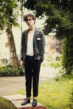 Pascal Grob - Moscot Glasses, Acne Studios Jersey Blazer, American Apparel V Neck T Shirt, Whyred Cotton Trousers, Acne Studios Shoes - 4865902957