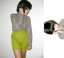 Melanie Likes - Vintage Button Up, Vintage Lime Green Shorts - Not Much to Say