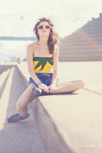 Rachel Lynch - On The Prowl White Vintage Sunnies, On The Prowl Yellow Pineapple Bathingsuit, On The Prowl Loop Vintage Denim, Sam Eldmen Harness Booties - I wish i was like you,
