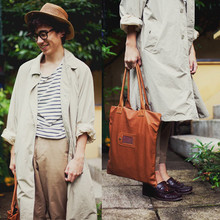 Pascal Grob - Acne Studios Tassled Loafers, Vintage Straw Hat, Moscot Glasses, Weekday Striped T Shirt, Acne Studios Coat, Topman Carrot Shaped Trousers, Un Ju Leather Bag - 4888660382