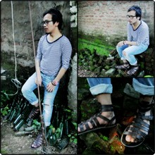 Manen Longkumer - Thrift Stripe Full Sleeve Shirt, Topman Gladiator Sandals, Topman Ripped Denim, Thrift Nerd - Americian meets the Roman