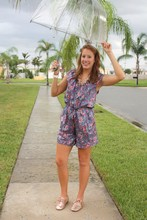 Katie M - Gianni Bini Romper, Loft Necklace, Urban Outfitters Shoes - Rainy Afternoon