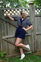 Eva Lewin - Vintage Sailor Playsuit, Thrifted White Booties - Ahoy, ahoy.