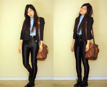 Jessica Tran - Thrifted Blazer, Thrifted Bag, American Apparel Disco Pantss, Thrifted Combat Boots, Thrifted Blouse - Under the Influence