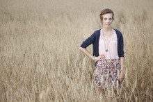 Kim S. - H&M Bohoshirt, My Great Grandaunt Vintage Necklace, Zara Flowerskirt - Cornfields can be so lovely.