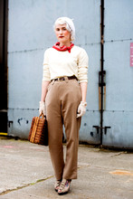 Harrietta Henderson - Topshop Shoes, Vintage Beret, Vintage Neck Scarf, Vintage Cream Jumper, Vintage Slacks, Vintage Gloves, Vintage Basket Bag - Land Army Girl