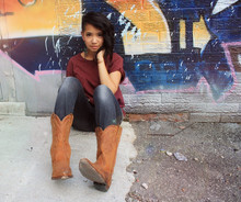 Bianca Venerayan - Gap T Shirt, Gap Jeggings, Kensington Market Cowboy Boots, Forever 21 Earrings - Kush x orange juice