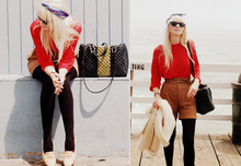 Coury Combs - Vintage Striped Boater Top, Zara High Waist Short, American Apparel Bamboo Tights, Tenoversix Speedy Bag - Free.