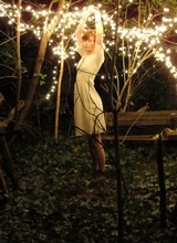 Esther Boller - I Made It Dress, Thrifted Boots, I Made It Floral Headband - The woods come alive at night...