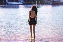 Elle-May Leckenby - High Wasted Shorts, Opp Shop Black Swimsuit - Peaceful afternoon