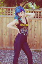 Dawn Davenport - Ramones Shirt, American Apparel Hot Pants, Blue Hair - Texas Chain Saw Massacre