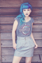 Dawn Davenport - Blue Hair, Pink Floyd Shirt, High Waisted Skirt - Moonage Daydream