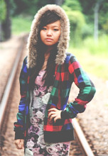 C Xiuling Aida - B. Datoka Furry Checkered Hoodie, New Look Flower Pattern Neckdress - I'll meet you at a railway, baby.