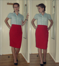 Kayla Dee - Marks & Spencer Blouse, F & Pencil Skirt, Some Ethno Shop Red Earrings, Atmosphere Patent Shoes With Bow - Tiny steps I take each day