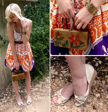K. M. - Grandmother's Re Hemmed Vintage 60s Skirt, Mother's Vintage 60s Box Purse, Garage Sale White Leather Wedges, Handmade Bronze Cuff - Mimi had the best taste in prints