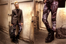 Andre Judd - Protacio X Anjo Bollardo X Andre Judd Collab Snake And Skull Print Trousers, M Barretto Gray Herringbone Stretch One Piece Suit, Jerome Lorico Black Tuxedo Shirt With Mirror Detail, Ac For Fh Snakeprint On Snakeskin Bag - Reptilian Rapture