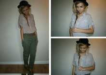 Chloe Waugh - Vintage Bowler Hat, Forever 21 Oversized Shirt, Zara Pleated Pants, Brogues - We set controls for the heart of the sun