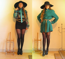 Olga Nunnink - Thrifted Pepita Patterned Coat, Vintage Chain Belt, Thrifted Zipper Body Con Skirt, Takashimaya Japan Tights With Over The Knee Design, Vintage Hat From Mother's Closet, Jutka & Riska Blouse By Young Designer, Vintage Leather Tie, Bronx Platformed High Heels - My good friend turqoise