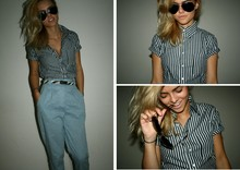 Chloe Waugh - American Apparel Chambray High Waist Pleated Pants, American Apparel Stripe Short Sleeve Button Up Shirt, Ted Baker Zebra Hair Belt, Ray Ban Sunglasses - I found myself screaming like a banshee