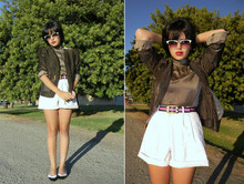 Melanie Likes - Vintage Gold Cardigan, Vintage Top, Vintage Shorts, Vintage Shoes - Growl