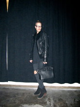 Vesa Perakyla - Vintage Biker Jacket, Serpentiini Sheep Fur West, Self Customized Sleeveless Shirt, Self Customized Dr Denim Skinny Jeans, Hermés Leather Bag, Vintage Heeled Ankle Boots - DARK Shadow