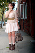 Keiko Lynn - Hourglass Consignment Vintage Belt, Seychelles Romance Boots, Coach Madison Brynne Bag, H&M Pink Dress, Modcloth Lace Cardigan - I wear my garment so it shows