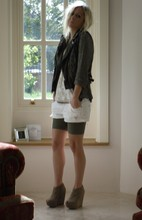 Daniella Robins - Topshop Jacket, Abercrombie + Fitch Denim Shorts - Leather and Sequins